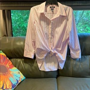 Striped White and Pink Button Down